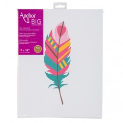 ANCHOR BIG STITCH ART - FEATHER - TEAL / PINK