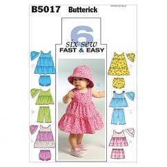B5017 Infants' Top, Dress, Panties, Shorts, Pants and Hat (size: All Sizes In One Envelope)
