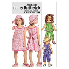 B5019 Children's/Girls' Top, Dress, Pants and Hat (size: 2-3-4-5)