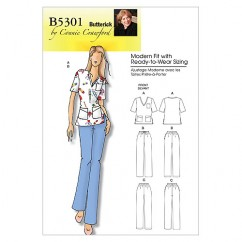 B5301 Misses'/Women's Top and Pants (size: XSM-SML-MED-LRG-XL)