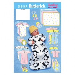 B5583 Infants' Bunting, Jumpsuit, Shirt, Diaper Cover, Blanket, Hat, Bib, Mittens and Booties (Size: NB-S-M)