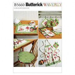 B5660 Apron, Hot Pads, Pot Holders, Place Mat, Napkin and Seat Cushion (size: All Sizes In One Envelope)