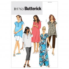 B5763 Misses'/Women's Maternity Top, Dress, Belt, Shorts and Pants (size: 8-10-12-14-16)