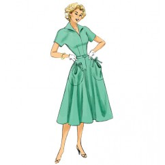 B6055 Misses' Dress and Belt (size: 6-8-10-12-14)