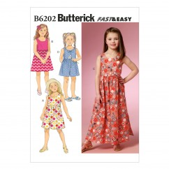 B6202 Children's/Girls' Dress and Culottes (size: 6-7-8)