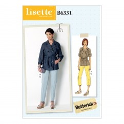 B6331 Misses' Raglan Sleeve Trench Jacket and Tapered Pants (Size: 14-16-18-20-22)