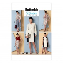 B6332 Misses' Collarless Jacket, Dress, Skirt and Pants (Size: 8-10-12-14-16)