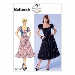 B6352 Misses'/Misses' Petite Square-Neckline, Puff Sleeve Dresses and Belt (Size: 6-8-10-12-14)