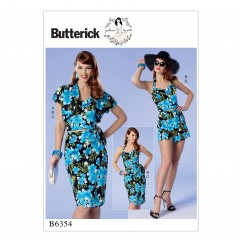 B6354 Misses'/Misses' Petite Bolero, Halter or Strapless Bustier, Sarong and Shorts (Size: 6-8-10-12-14)