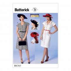 B6363 Misses' Button-Front, Flutter Sleeve Dresses and Sun Hat (Size: 6-8-10-12-14)