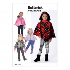 B6373 Children's/Girls' Capes and Poncho with Hood, Collar or Fringe Trim (Size: 6-7-8)