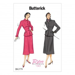 B6379 Misses'/Misses' Petite Jacket with Shaped Pockets and Midi-Length Skirt (Size: 6-8-10-12-14)
