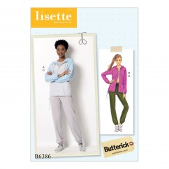B6386 Misses' Seamed Jacket with Hood and Drawstring Pants (Size: 14-16-18-20-22)