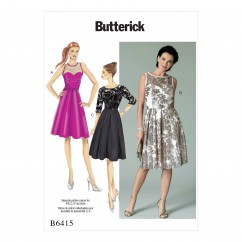 B6415 Misses' Sweetheart-Neckline, Pleated-Skirt Dresses (Size: 6-8-10-12-14)