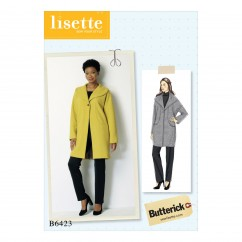 B6423 Misses' Drop-Shoulder, Shawl Collar Coat with In-Seam Pockets (Size: 16-18-20-22-24-26)