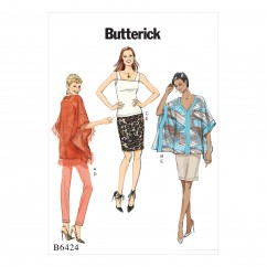 B6424 Misses' Banded Ponchos, Sleeveless Top, and Pull-On Skirt and Pants (Size: 6-8-10-12-14)