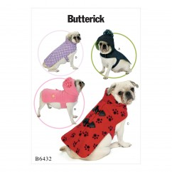B6432 Pet Coats with Collar or Hood (Size: All Sizes in One Envelope)