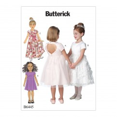 B6445 Children's/Girls' Dresses with Optional Heart Cutout (Size: 6-7-8)