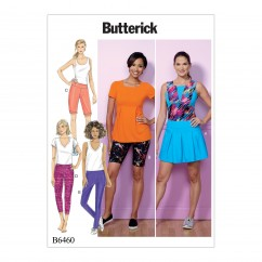 B6460 Misses' Pleated Skort, and Pull-On Shorts and Pants (Size: 16-18-20-22-24-26)