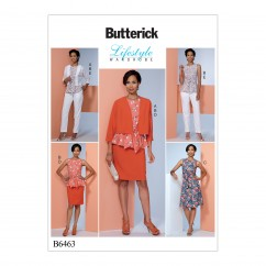 B6463 Misses' Dolman-Sleeve Jacket, Attached-Sash Top and Dress, Pencil Skirt, and Pants (Size: 6-8-10-12-14)