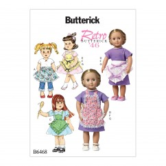 "B6468 Ruffled Full or Half Aprons, Dress and Necklace for 18"" Doll (Size: One Size Only)"