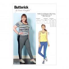 B6498 Misses'/Women's Knit Tops and Elastic-Waist Pants with Contrast Band (Size: XS-S-M-L-XL)