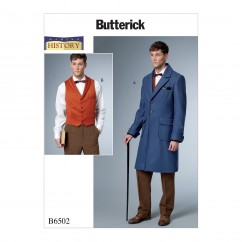 B6502 Men's Single-Breasted Lined Coat with Back Belt and Vest with Buckle (Size: 38-40-42-44)