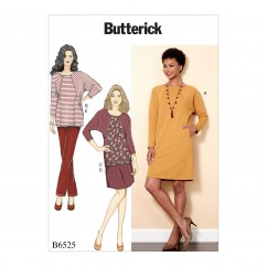 B6525 Misses' Knit Dress and Tunic, Skirt, and Pants (Size: 14-16-18-20-22)
