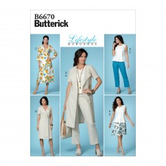 B6670 Misses' Top, Dress, Skirt and Pants (Size: 6-8-10-12-14)