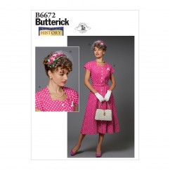 B6672 Misses' Costume and Hat (Size: 14-16-18-20-22)