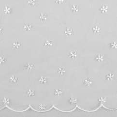 CHERIE Embroidered Mesh - Daisy - White
