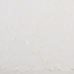 CHERIE Embroidered Mesh - Daisy - Ivory