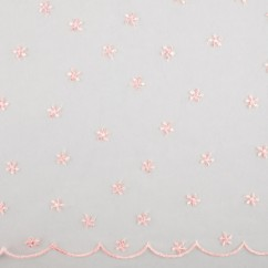 CHERIE Embroidered Mesh - Daisy - Pink