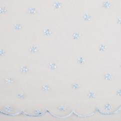 CHERIE Embroidered Mesh - Daisy - Blue