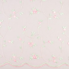 CHERIE Embroidered Mesh - Rose bud - Pink