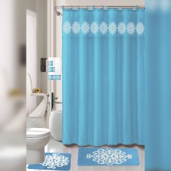 Nova Home Collection Non-Slip Safety Water Absorbent Soft 18 Pieces Bath Mat Floor Mat Set with Shower Curtain and Towel Set, Jumbo Package, Turquoise Color - Turquoise