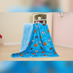 Baby Kids Printed Fleece Throw - Balls & Sports  - Blue - 50x40''