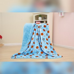Baby Kids Printed Fleece Throw - Balls & Stars  - Blue - 50x40''
