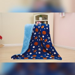 Baby Kids Printed Fleece Throw - Balls & Stars  - Navy - 50x40''