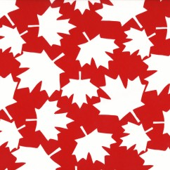 Maple Leaf Cotton Print - Red / White Large