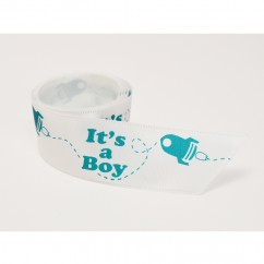 Single Face Satin Ribbon - It's a boy - Aqua
