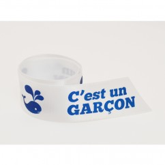 Single Face Satin Ribbon - C'est un garçon (French) - Blue