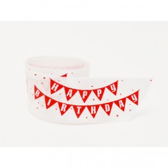 Single Face Satin Ribbon - Happy Birthday - Red