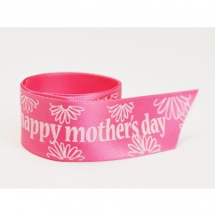 Single Face Satin Ribbon - Happy Mother's Day - Pink