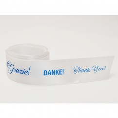 Single Face Satin Ribbon - International Thank You's - Blue