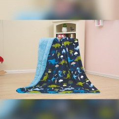 Baby Kids Printed Fleece Throw - Dinosaur Zoo  - Navy - 50x40''