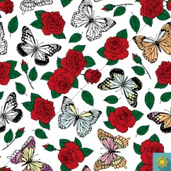 Fun-Sun - Solar Active Cotton Lycra Jersey Knit - Butterfly and Roses