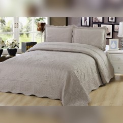 3 Piece Embroidered Quilt Set - Taupe