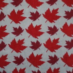 Canadiana Fleece Prints - Maple leaf toss - grey / red