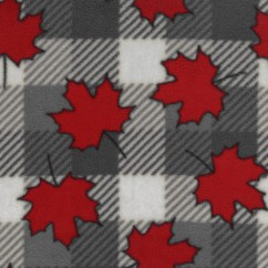 Canadiana Fleece Prints - Buffalo Plaid with Red Maple Leaf - Grey / red